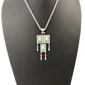 "Sarah Coventry Turquoise Glass Necklace ""Folklore"""